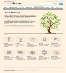 Screen grab of 'Corporate Responsibility' page