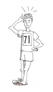 Illustration of a confused runner wearing a flip-flop on one foot