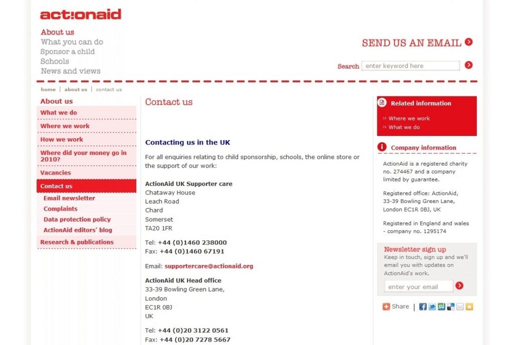 Screengrab of ActionAid UK's 'Contact us' page