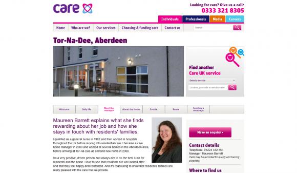 Care UK residential home profile screengrab