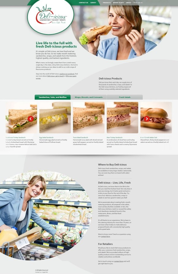 Deli-icious one-page website