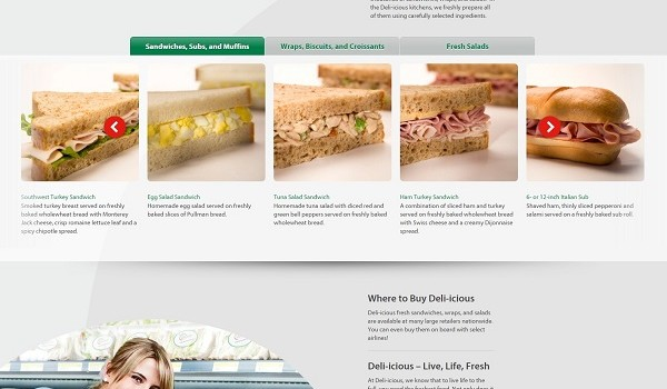 Screengrab of the Deli-icious one-page website