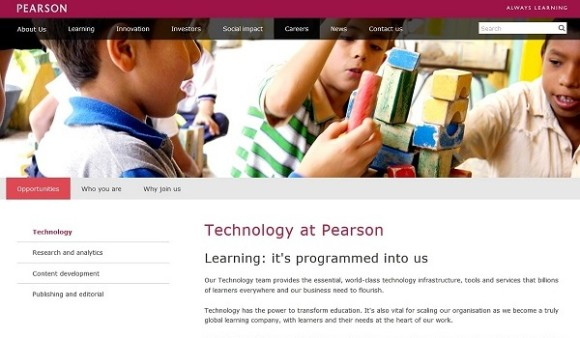 Technology opportunities, Pearson 'Careers' section