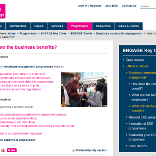 Screengrab of the page 'Business benefits' from the BITC ENGAGE Toolkit