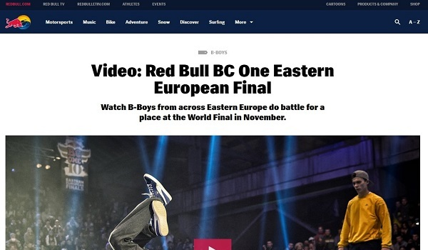 Screengrab of story on redbull.com