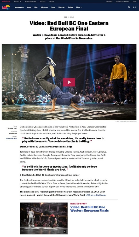 Image of story on redbull.com