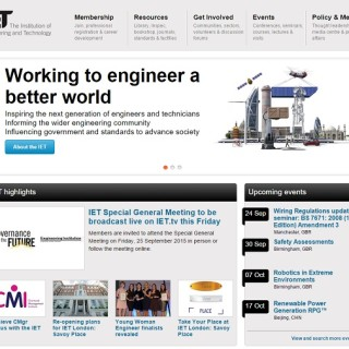 Screengrab of the IET website