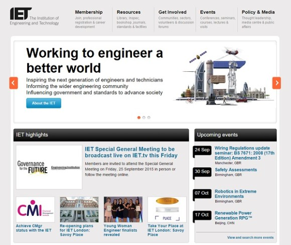 The IET website homepage