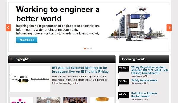 Screengrab of the IET website