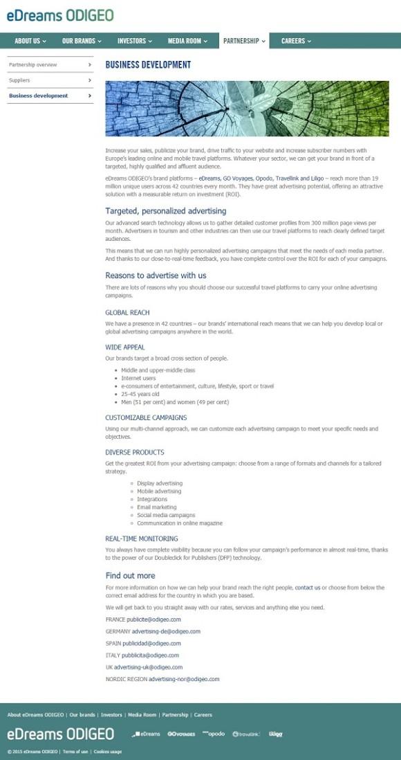 Business development on the eDreams ODIGEO website